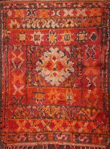 Semi-Antique Authentic Moroccan Geometric Oriental Area Rug Handmade Wool 3x4 ft