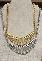 "VTG LOT OF 2 NECKLACES GOLD SILVER TONE 19"" LRG PENDANT"