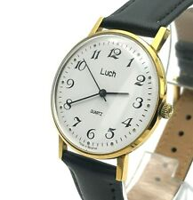 Classic Costume LUCH Slim Men's Vintage Wristwatch TESTED Golden Quartz Export