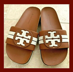 TORY BURCH LEIGH ANATOMIC SLIDE SANDAL TUMBLED LEATHER AMBRA/NEW IVORY SZ 7 NIB