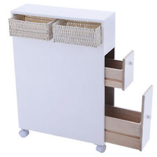 Wood Floor Bathroom Storage Rolling Cabinet Holder Organizer Bath Toilet White