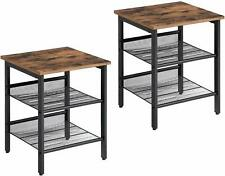 Industrial Nightstand, Set of 2 Side Tables, End Tables with Adjustable Shelves