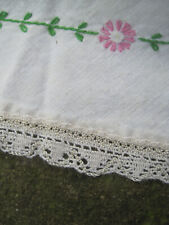 """VTG 73"""" ROUND Linen? PINK FLORAL Embroidered Tablecloth W/Crochet Edging"""