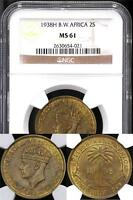 British West Africa, British Colonies, 1938-H 2 Shillings - NGC MS61