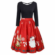 Fashion Womens Plus Size Christmas Print Criss Cross Gown Evening Party Dress