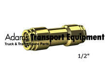 """Brass Nylon Air Line Joiner 1/2"""" DQ62DOT08 - Push-to-connect DOT Approved"""