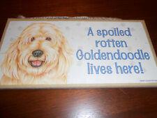 Sjt Enterprises, Inc. A Spoiled Rotten Goldendoodle Lives here Wood Sign Plaque
