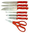 GINSU Kiso 7 piece Knife Set Red Dishwasher Safe Stainless Steel Blade
