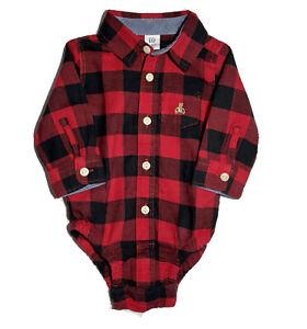 NWT Gap 3-6M Baby Boys Red Black Buffalo Check Button-Up Bodysuit