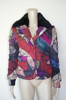 JUST CAVALLI sz 42 WOMENS JACKET PUFFA RABBIT PUFFER SHORT SPONGES DOWN FEATHER