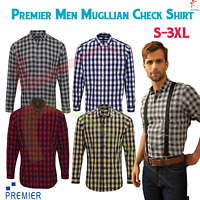 Premier Mens Long Sleeve Mulligan Check Cotton Bar Shirt Poplin Casual Work Wear