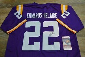 CLYDE EDWARDS-HELAIRE Autographed Auto Jersey LSU Purple JSA COA