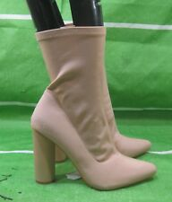 """Size 8 NEW Ladies SKINTONE 4.5""""block High Heel Pointy Toe Ankle Sexy Boots"""