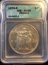 5 Francs HERCULE, Argent, 1876 K (Bordeaux) AU58 / SUP58 par ICG