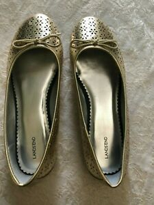 Lands End Gold Slip On Dress Shoe Ballet Flat Size 8