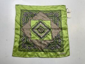 NWT Ermenegildo Zegna Men's Green Paisley Silk Pocket Square