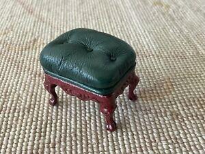 Pat Tyler Dollhouse Miniature Dark Green Leather Stool Ottoman Seat 1274