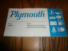 1978 Plymouth Fury Volare Operator's Manual - Vintage - Glove Box - OEM