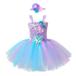 Girls Mermaid Tutu Dress Princess Birthday Party Dresses for Girls Starfish