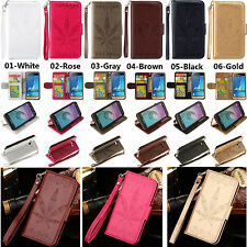 For Various Phone Strap Embossing Leather Wallet Card Case Cover Sevenleaf HC