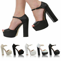 NEW LADIES WOMEN ANKLE STRAP PLATFORM CHUNKY HIGH HEEL PEEP TOE SHOES SIZE 3-8