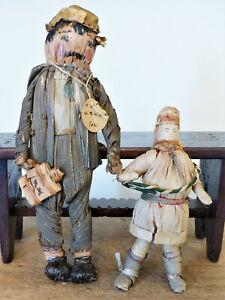 "ANTIQUE Vitg 1930 BLACK ""TOM"" PRIMITIVE Virginia SOUTHERN Cornhusk FOLK ART Doll"