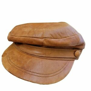 """Vintage Dobbs Fifth Avenue NY Collection Cabbie Newsboy Cap Genuine Leather 12"""""""