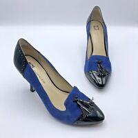 Anne Klien Brettany Women Blue Suede Black Patent Heel Shoe Size 7M Pre Owned