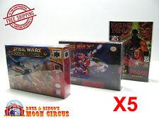 5x NINTENDO SNES - N64 - ATARI JAGUAR - CLEAR PROTECTIVE GAME BOX SLEEVE CASE