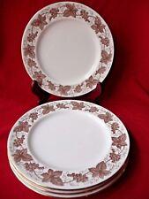 """Spode Copelands 4 Dessert Plates 8"""" Porcelain England White Brown Vine Grapes"""