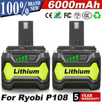 2 Pack 18V 6.0Ah P108 for Ryobi ONE+ P105 P102 Lithium Battery Cordless Tools