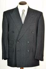 New $4500 Bespoke DOMENICO SPANO Grey & Black Striped DBL Breasted SUIT 42 R