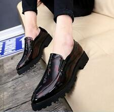 Mens Patent Leather Pointed Toe Business Casual Shoes British Barber Pull On Sz