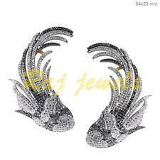 14 K Gold Pave Diamond Ear Cuff Fish Earrings Handmade Vintage Style Jewelry OY