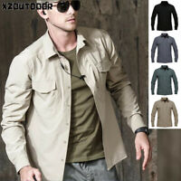 Mens Army Military Tactical Long Sleeve Shirts Combat Cargo Outdoor Casual Shirt