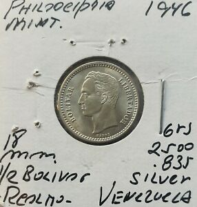 1946 Venezuela 1/2 Bolívar Silver Coins Gram 2.500