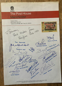 Fully Signed X16 Benfica 1977 V Manchester United Football Autograph Sheet