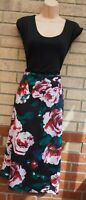 BLACK RED GREEN ROSES FLORAL SLEEVELESS ROUND NECK A LINE MIDI TEA DRESS 24