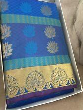 Women's Kanchipuram Indian Mixed Silk Pattu Saree Sari Blue Gold Blouse New