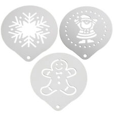 3PC Set Christmas Coffee Stencil Kit Santa Snowflake and Gingerbread - By TRIXES