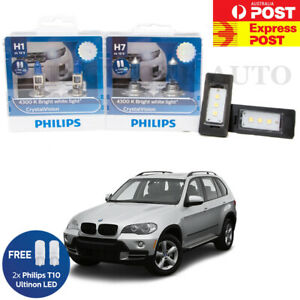 Philips H1 H7 Crystal Vision Headlight LED Number Plate REGO for BMW X5 E70
