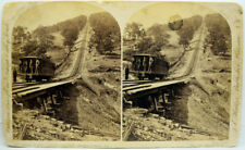 """1800's Stereoview Card Erie Lehigh Valley Railroad Line Large Size 4.25"""" x 7"""""""