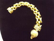 KJL Gold Tone Link Bracelet with Mabe Pearl & Clear Crystal Accents w/ Bag