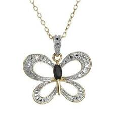 Butterfly Necklace W/Genuine Diamond & Sapphire in 14K/925 Gold plated Silver