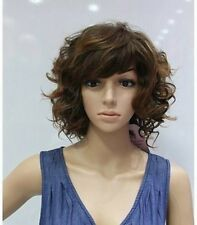 NEW fashion brown mixed short curly cosplay wig