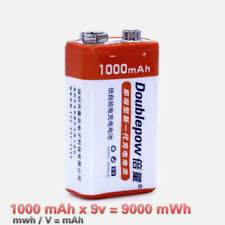 PP3 9V Lithium Rechargeable Battery 9000mWh USB Charger 6F22 9v Li-ion Batteries