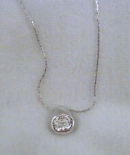 "Fifth Avenue signed Butler silver pendant 16-18"" necklace huge oval crystal"