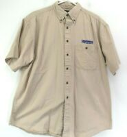 Luna Pier Men Large Short Sleeve Button Down Pocket Casual Shirt Khaki Beige