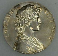 1870-1914 France French Silver Medal Lorraine Engraved G.Prud'Homme UNC 32mm