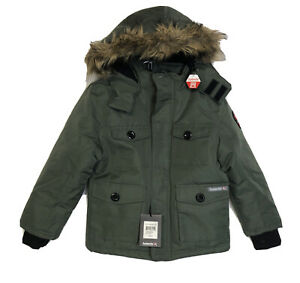 Avalanche Boys Olive Green Zip Front Faux Fur Hooded Parka Jacket Size M (10/12)